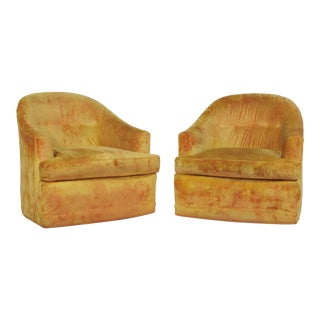Mid-Century Milo Baughman Style Barrel Back Swivel Lounge Chairs - a Pair For Sale