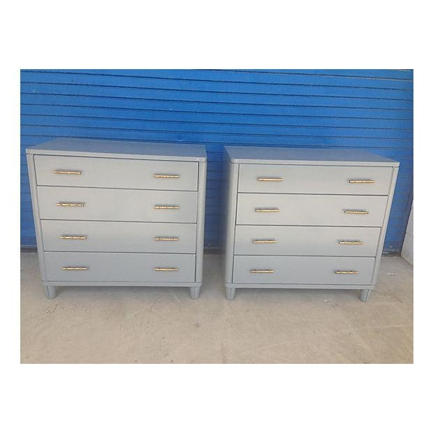 Gray Mid-Century Bachelor Chests - A Pair - Image 2 of 7