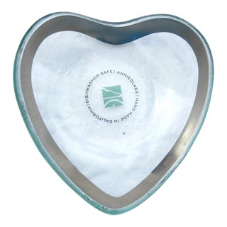 Annieglass Heart Dish With Silver Edge Art Glass, Signed and Numbered For Sale