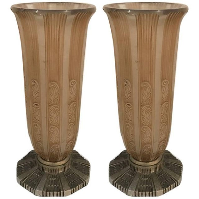 High End French Art Deco Vases By Hettier Vincent A Pair Decaso
