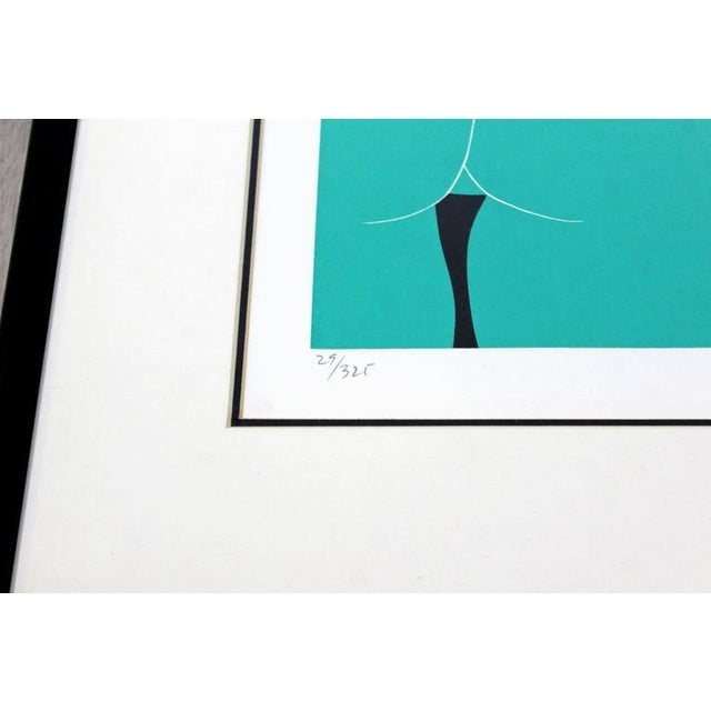 "1970s Mid-Century Modern ""The Nudes"" Green Framed Lithograph Signed Dated 1979 29/325 For Sale - Image 5 of 7"