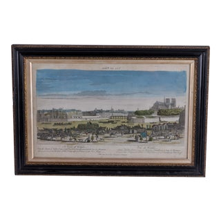Early 18th Century Antique Framed Paris View Print For Sale