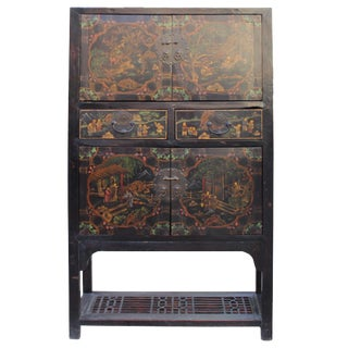 Chinese Distressed Brown People Scenery Graphic Storage Wardrobe Cabinet For Sale