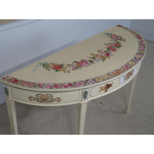 White Adam Style Paint Decorated Demi-lune Console Table For Sale - Image 8 of 11