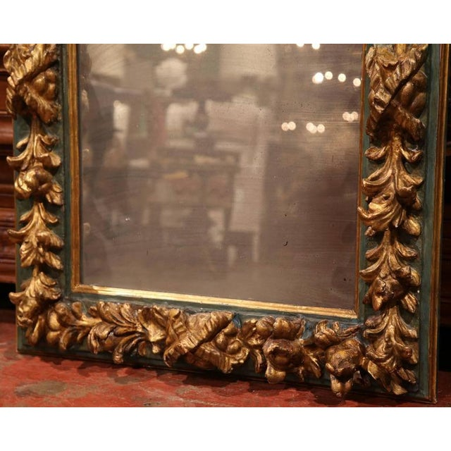 Large Mid-19th Century Spanish Baroque Carved Polychrome Gilt Mirror For Sale - Image 4 of 4