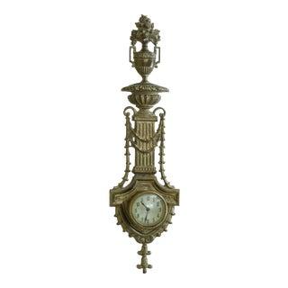 Vintage Brass Urn & Drape Details Hanging Wall Clock For Sale