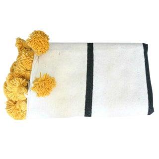 White Black Saffron Pompom Throw For Sale