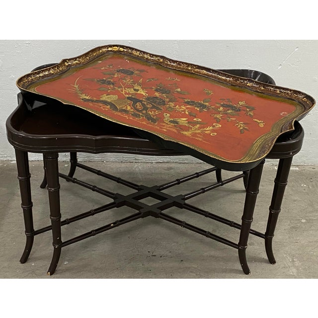 19th Century Papier Mache English Chinoiserie Tray Table For Sale In San Francisco - Image 6 of 9