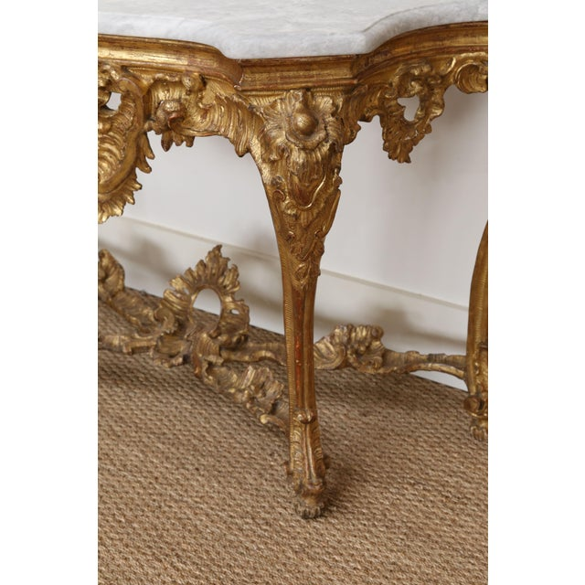 Early 19th Century Gold Gilt Console With Custom Cut Marble Top For Sale - Image 5 of 12