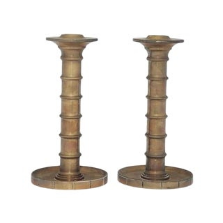 "Evan Jensen ""Barcelona"" Bronze Candlesticks - a Pair For Sale"