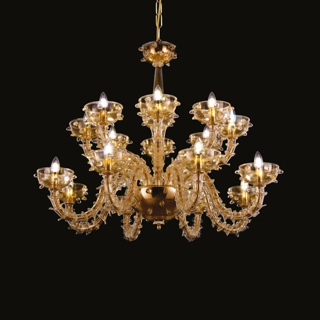 Italian Venetian chandelier with gold Murano glass mounted on gold metal frame by Fabio Ltd / Made in Italy 16 lights /...