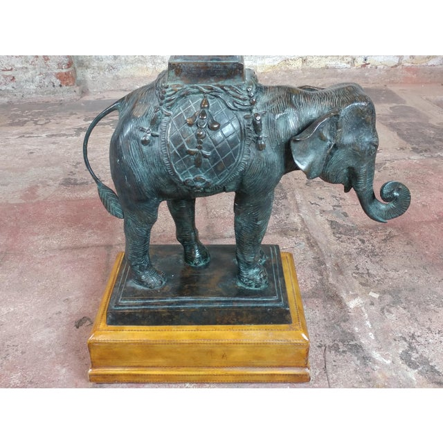 Black Maitland Smith Beautiful Bronze Elephant side Tables-A pair For Sale - Image 8 of 12