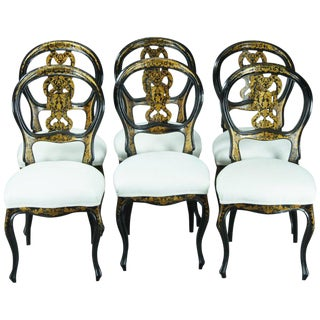 Set of Six English Black Lacquer Dining Chairs For Sale