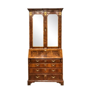 18th Century English Walnut and Parcel Gilt George II Secretary For Sale