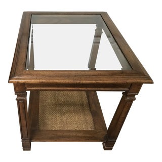 1950s Mid-Century Modern Glass and Wood Riverside End Table For Sale