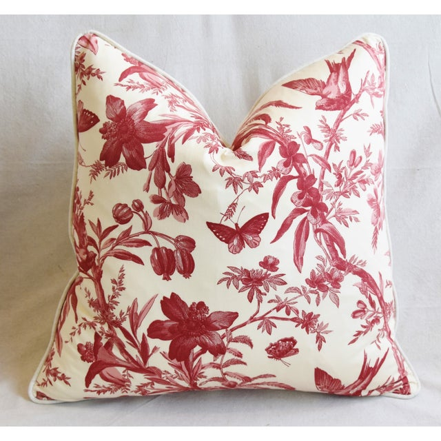 "Early 21st Century P. Kaufmann Aviary & Floral Toile Feather/Down Pillows 23"" Square - Pair For Sale - Image 5 of 13"