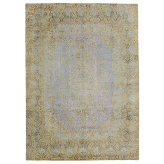 Distressed Vintage Turkish Rug With Luxe French Industrial Style - 9′7″ × 13′4″ For Sale
