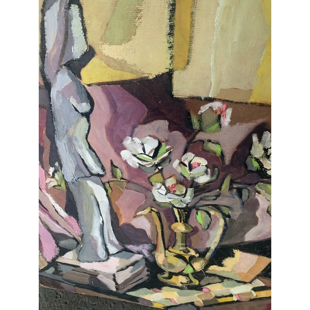 1960s Still Life of Figurine with Vase Painting For Sale - Image 4 of 5