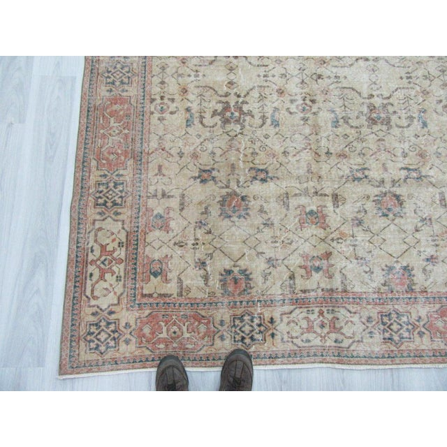 Tan Vintage Turkish Oushak Distressed Rug- 6′7″ × 9′8″ For Sale - Image 8 of 12