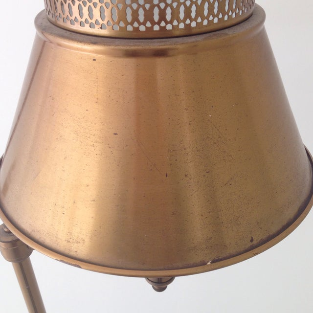 Brass Colored Tole Floor Lamp - Image 5 of 11