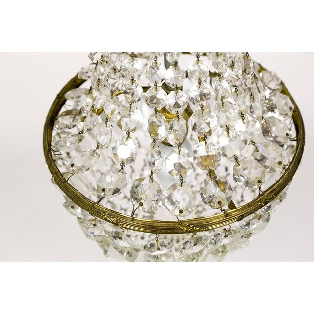 Petite Crystal Basket Chandeliers (Pair) For Sale - Image 4 of 10