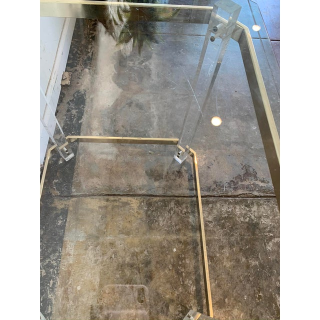 1970s Charles Hollis Jones Accent Table W/Lucite Legs & Glass Top For Sale In Los Angeles - Image 6 of 9