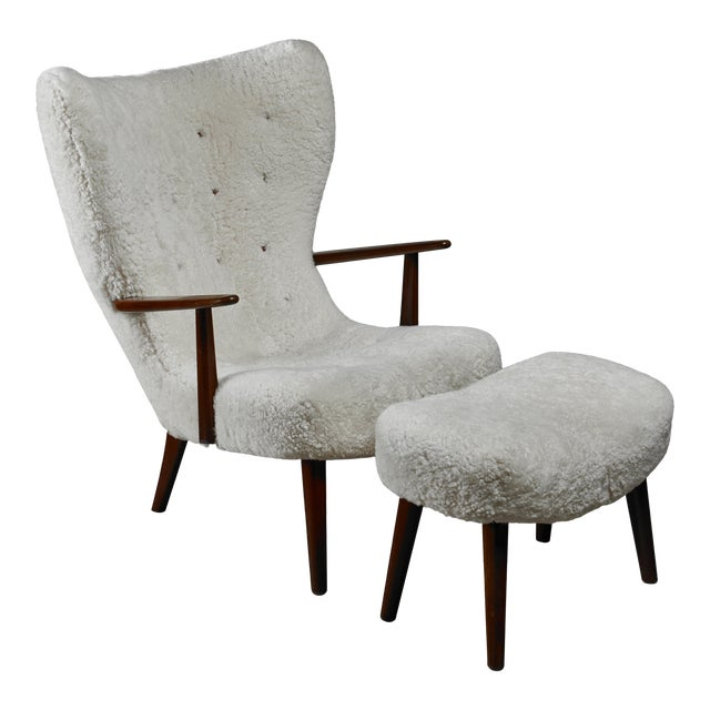 Madsen and Schubell 'Pragh' lounge chair with ottoman, Denmark, 1950s For Sale