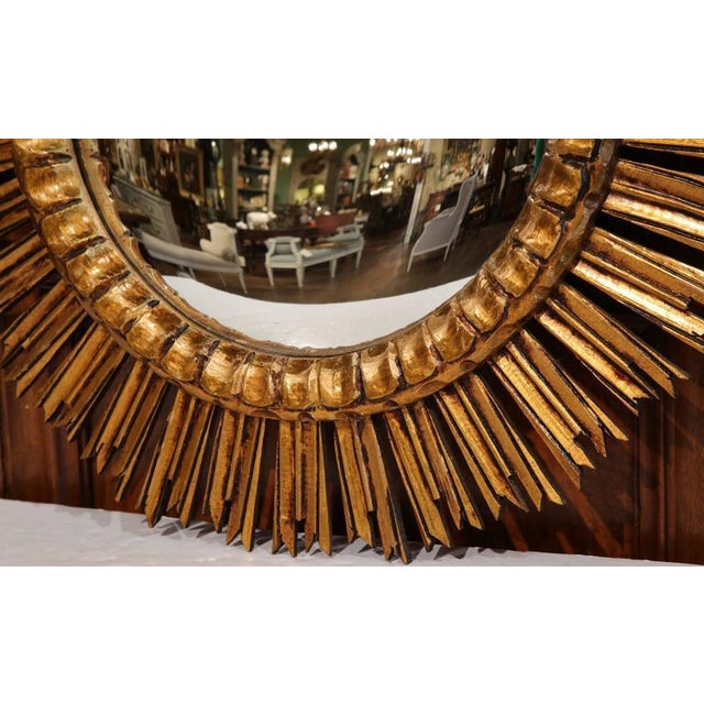 Mid-Century French Sunburst Mirror with Gilt Finish & Convex Mirror - Image 4 of 7