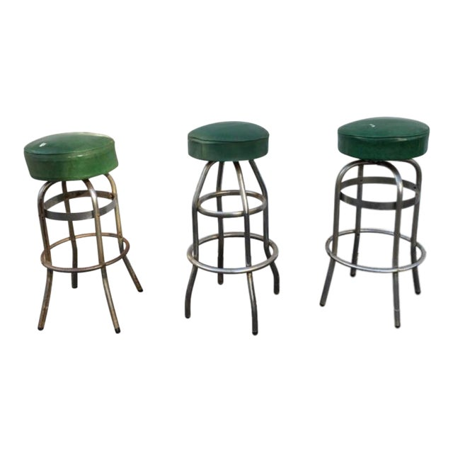 Vintage Retro Green Diner Stool - Image 1 of 4