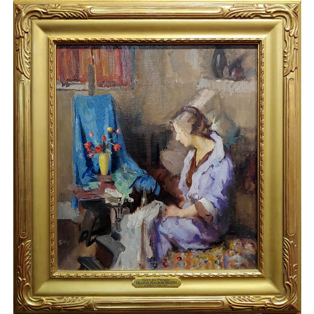 Gladys Nelson Smith - Woman in Purple looking at Flowers- Beautiful oil painting oil painting on board - signed frame size...