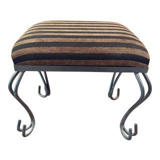 Decorative Iron Striped Fabric Foot Stool