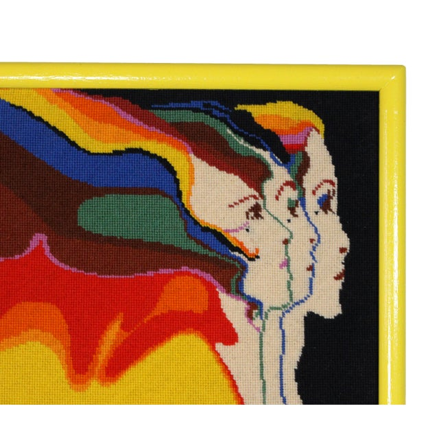 "1970s 1970s Vintage Embroidered Divine Feminine ""Three Graces"" by John Luke Eastman Needlepoint Textile Art For Sale - Image 5 of 6"