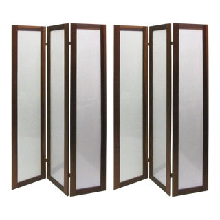 Pair of Textured Fiberglass and Teak Folding Screens For Sale