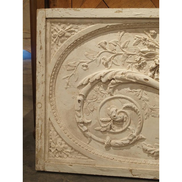 This beautiful panel is a parcel paint plaster bas relief from France. The framed plaster overdoor depicts classic...