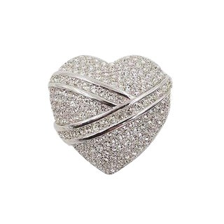 Dior Pavé Rhinestone Heart Pin For Sale