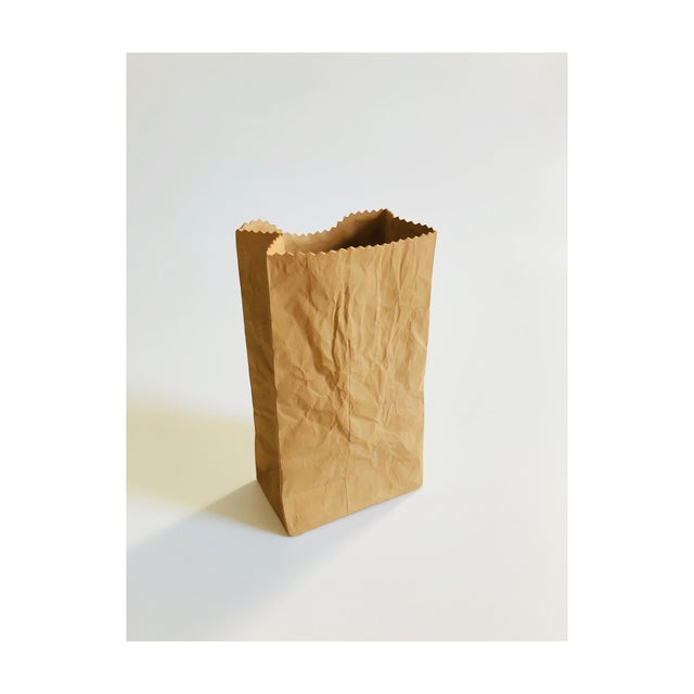 Vintage 1980s Harvey Paper Bag Ceramic Pop Art Vase For Sale - Image 9 of 9
