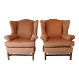 Image of Slipcover Wingback Chairs - A Pair For Sale