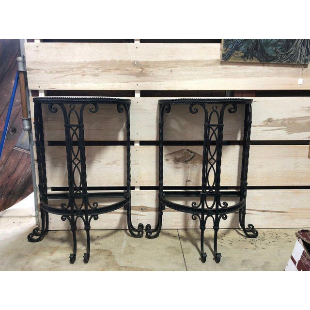 19th Century French Demilune Iron and Marble Tables - a Pair For Sale - Image 4 of 9