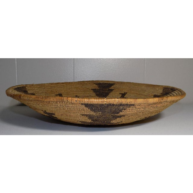 Wood Antique Native American Apache Woven Polychrome Horses Basket Bowl For Sale - Image 7 of 10