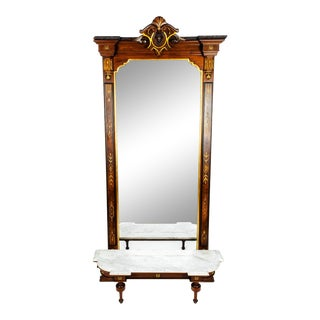 Antique Victorian Walnut Pier Mirror For Sale