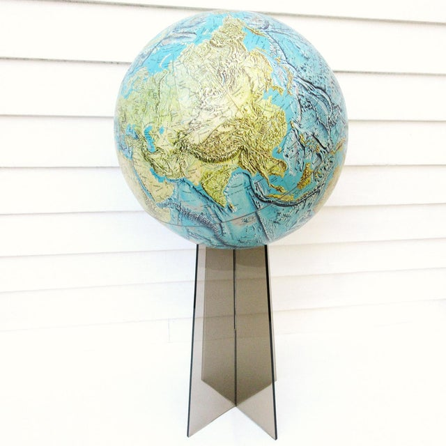 Large Replogle World Globe and Lucite Stand For Sale - Image 7 of 9