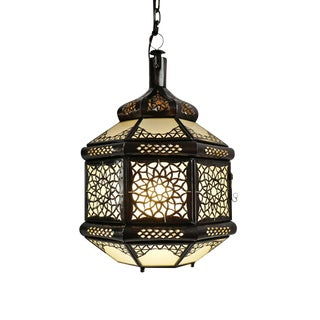 Metal Work Frosted Glass Lantern For Sale