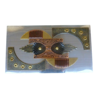 Mid-Century 1970's Brutalist Mixed Metal Wall Plaque For Sale