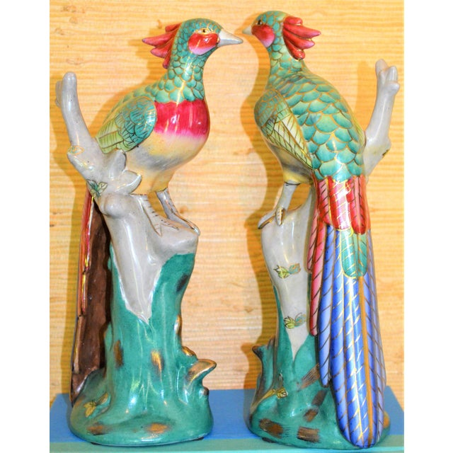 Chinese Export Porcelain Pheonix Bird Figurines - a Pair For Sale - Image 10 of 13