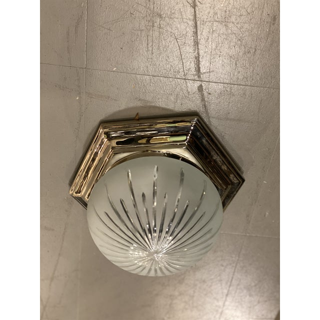 1940s Nickel Plated Light Fixture For Sale In New York - Image 6 of 6