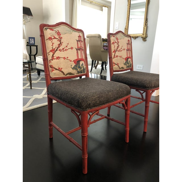 Chinoiserie Chinoiserie Faux Bamboo Style Chairs- a Pair For Sale - Image 3 of 9