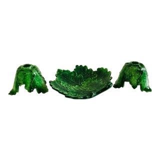 Italian Majolica Dish & Candle Holders Set of 3 For Sale