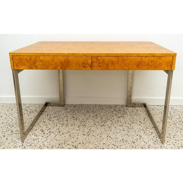 Burlwood and Nickel Writing Desk by Milo Baughman For Sale - Image 12 of 12