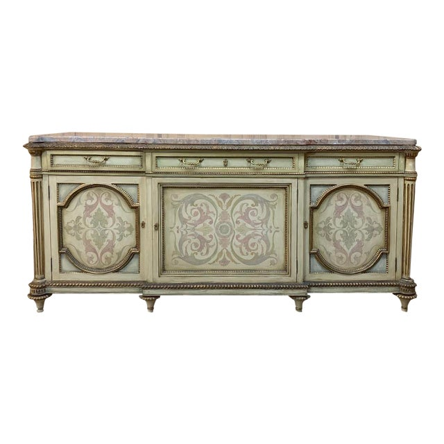 Antique Italian Marble Top Painted Buffet For Sale