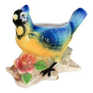 Vintage Blue & Yellow Bird Planter